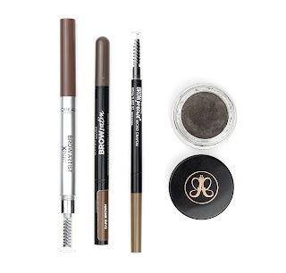 L'Oreal Brow Artist Xpert Pencil in Cool Brunette, Maybelline Brow Satin Duo in Dark Brown, Maybelline Brow Precise Micro Pencil in Soft Brown, Anastasia Beverley Hills Dip Brow Pomade in Medium Brown shade comparison cool ashy brown