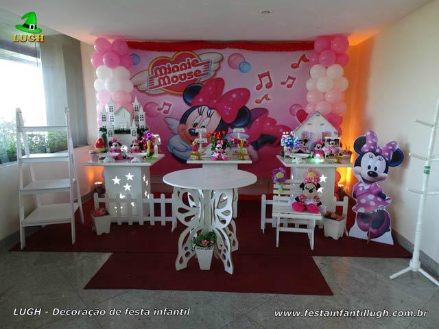 Decoração de 1 ano tema feminino - festa de aniversário infantil Minnie rosa