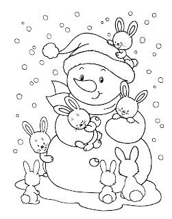 דף צביעה איש שלג וארנבונים