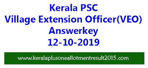 Kerala PSC VEO (Village Extension Officer) Answer Key 12-10-2019