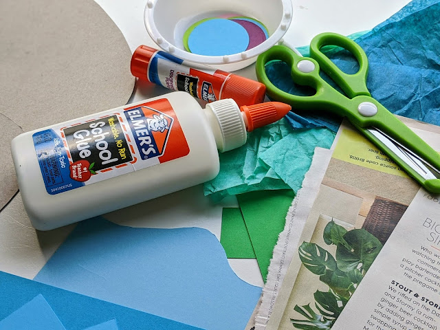 supplies to make Easter egg paper collage art activity for kids using Elmer's school glue