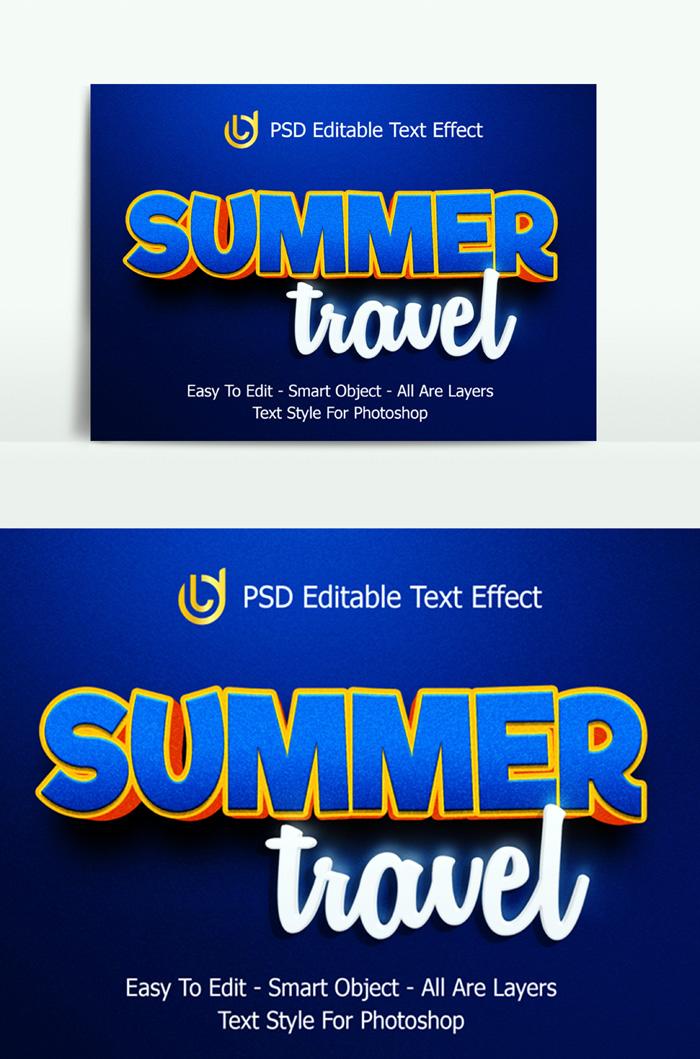 Effects Summer Travel Text 3D Easy Edit Psd Template