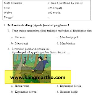 Soal PAS Kelas 4 Tema 3 SD Kurikulum 2013