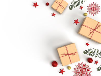 Gifts and red stars on white background