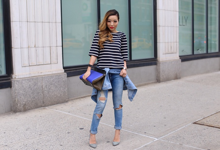 Banana Republic stripe bead ruffle top, hermes bracelet, blank denim ripped jeans, alice and olivia stripe heels, celine edge bag, asos denim jeacket, chanel earrings, spring outfit ideas