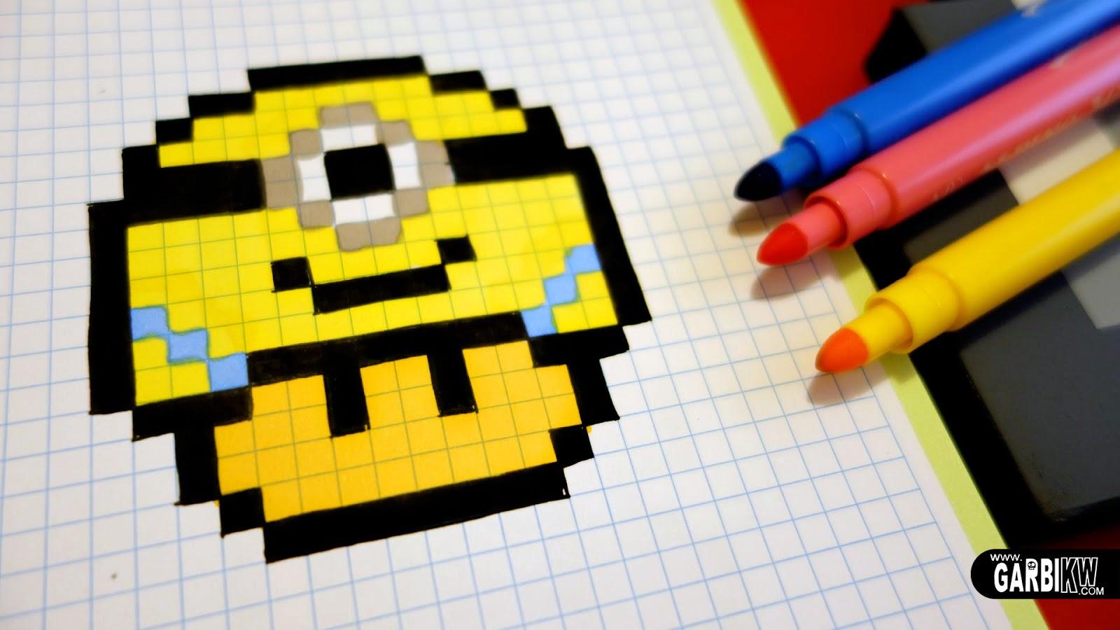 Handmade Pixel Art , How To Draw a Minion Mushroom pixelart
