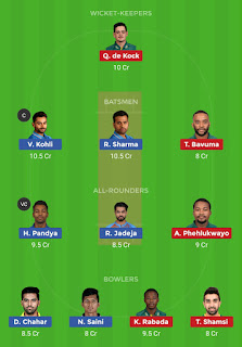Dream11 team for India vs South Africa 3rd T20 Match | Fantasy cricket tips | Playing 11 | India vs South Africa dream11 Team | dream11 prediction |