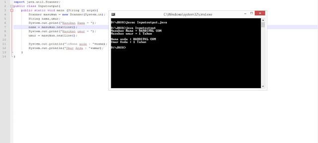 Contoh Program Input dan Output Data Dengan Penggunaan Scanner Pada Java