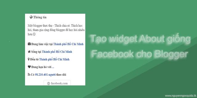 Hướng Dẫn Tạo Widget About Giống Facebook Cho Blogspot Cực Đẹp