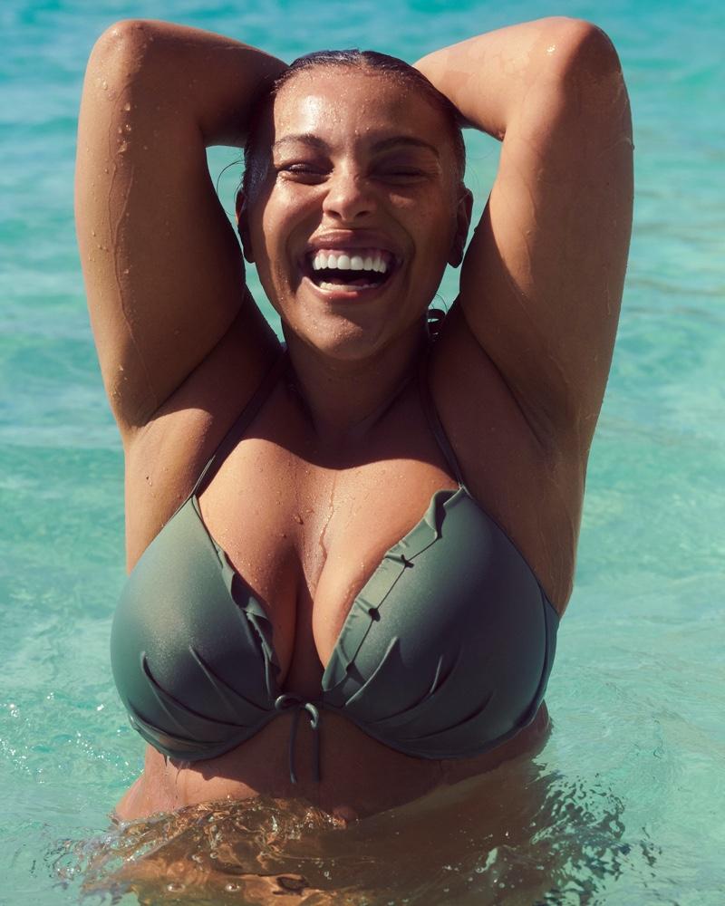 Paloma Elsesser poses for Victoria's Secret Swim spring 2021 campaign.