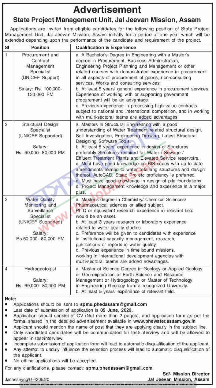 Jal Jeevan Mission, Assam Recruitment 2020: