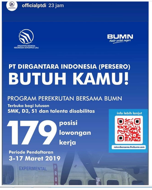 Lowongan Kerja PT Dirgantara Indonesia (Persero) Via Program Perekrutan Bersama BUMN