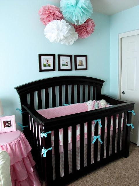 pink and aqua elephant crib bedding