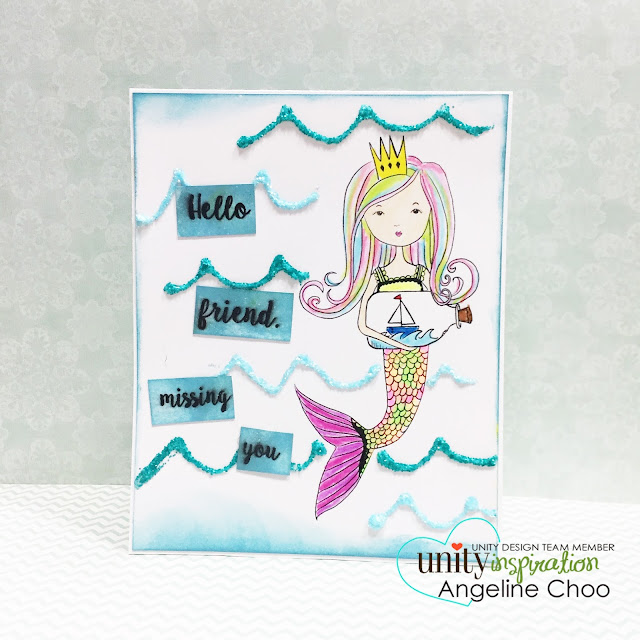 ScrappyScrappy: BIG Blog Hop + [NEW VIDEOS] with Unity Stamp - Spirit of a Mermaid #scrappyscrappy #unitystampco #stamp #stamping #coloring #coloredpencil #glitter #mixedmedia #card #cardmaking #mermaid