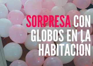 idea de regalo con globos en la habitación sorpresa
