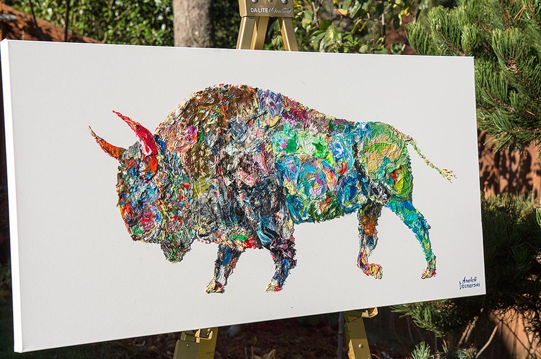 buffalo painting,buffalo unique texture, buffalo voznarski, buffalo 3d artwork,  buffalo pop art, abstract buffalo painting, buffalo on canvas, buffalo oil ,buffalo 3d painting, buffalo acrylic,buffalo impasto,  buffalo thick layers,