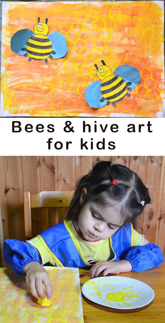 Bees and a beehive art for kids. Пчелы и улей.  Рисуем с детьми. Аппликация