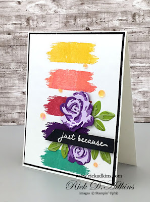 Just Because Card using the Brushed Blooms Bundle from the January-June Mini Catalog.  Click here to learn more and download the free tutorial