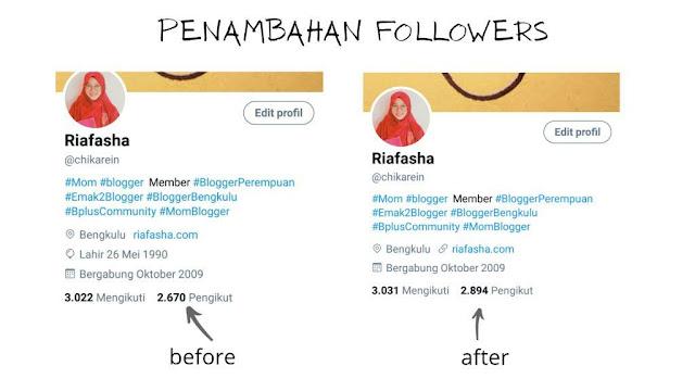 penambahan followers setelah giveaway