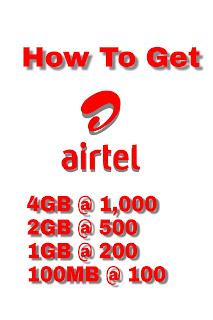 How To Get Airtel 4GB At 1000, 2GB At  500, And 200MB At 100