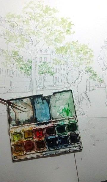 WIP aquarelle - Fanart de FMA, décor