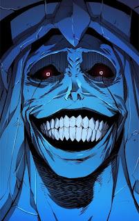 Mentahan gambar patung biru tersenyum