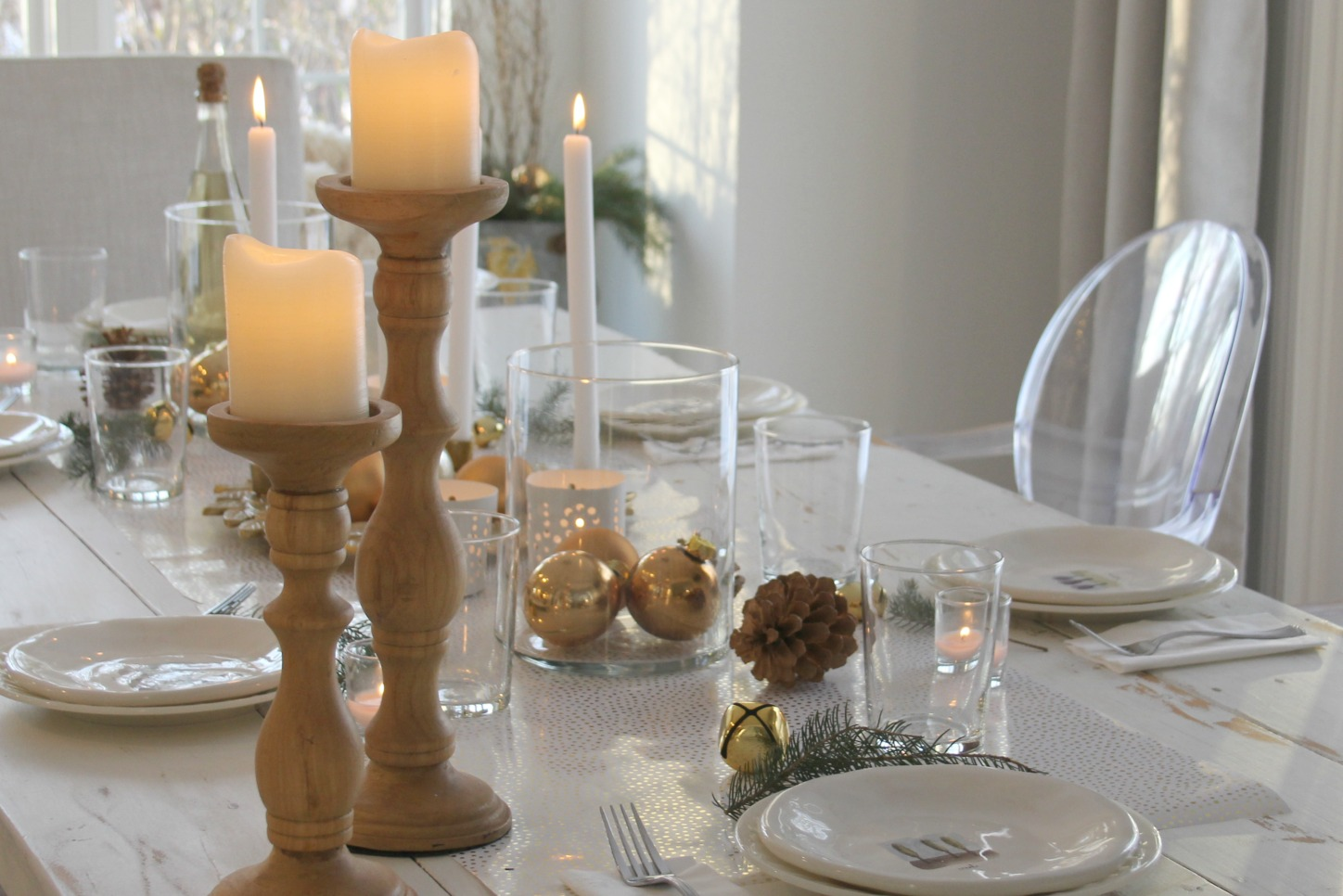 Hello Lovely Studio christmas holiday farmhouse tablescape with gold, white, and green