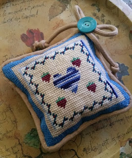 Heart needlepoint pincushion