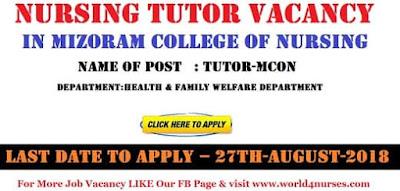 Nursing Tutor Vacancy in Mizoram College of Nursing