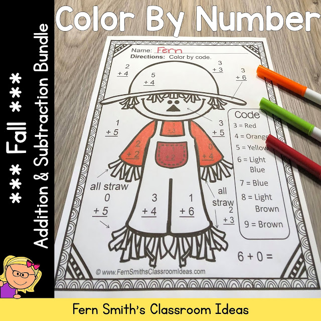 ** BEST SELLER ** You will love the no prep, print and go ease of these Fall Color By Number Addition and Subtraction Fall Themed Printables. This Fall Color By Number Addition and Subtraction Printable includes 10 pages for introducing or reviewing addition and subtraction. This bundle is perfect for differentiation in ESOL, ESL, Home Schooling and Special Education Classes, Inclusive and Exclusive, since everyone can work on different skills, different levels of those skills and yet, still have some joy and fun with coloring cute Fall Themed Pictures, perfect for bulletin boards and refrigerator museum art!
