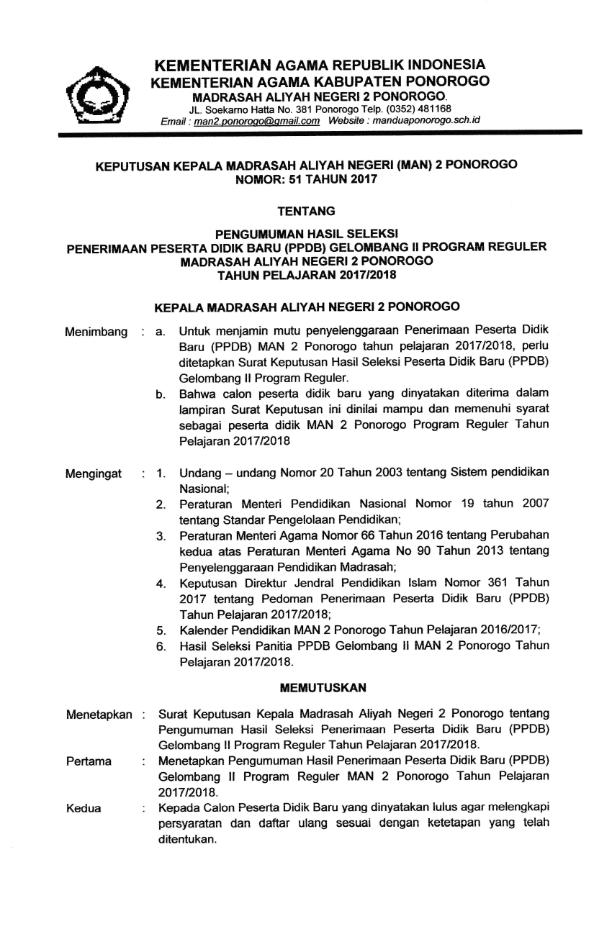 Hasil Seleksi Final PPDB MAN 2 Ponorogo TA 2017-2018 Program Reguler