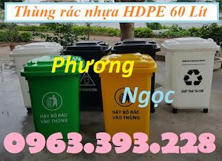 Thùng rác HDPE nắp kín, thùng rác nhựa 60L, thùng rác công cộng 60 Lít