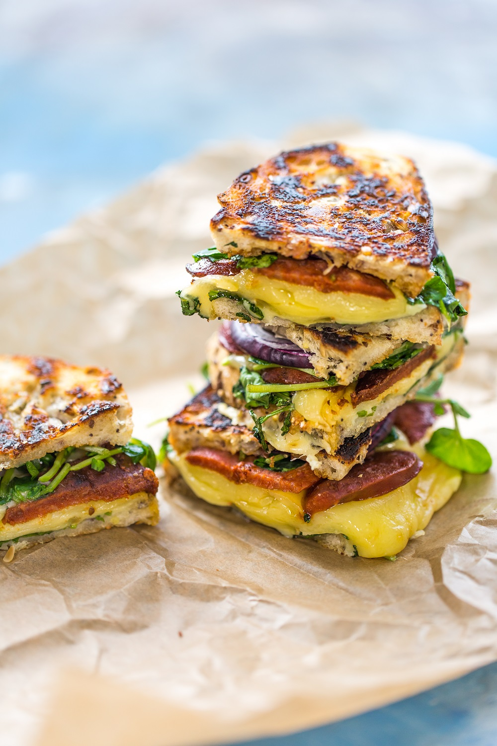 Chorizo, Cheese and Watercress Toastie