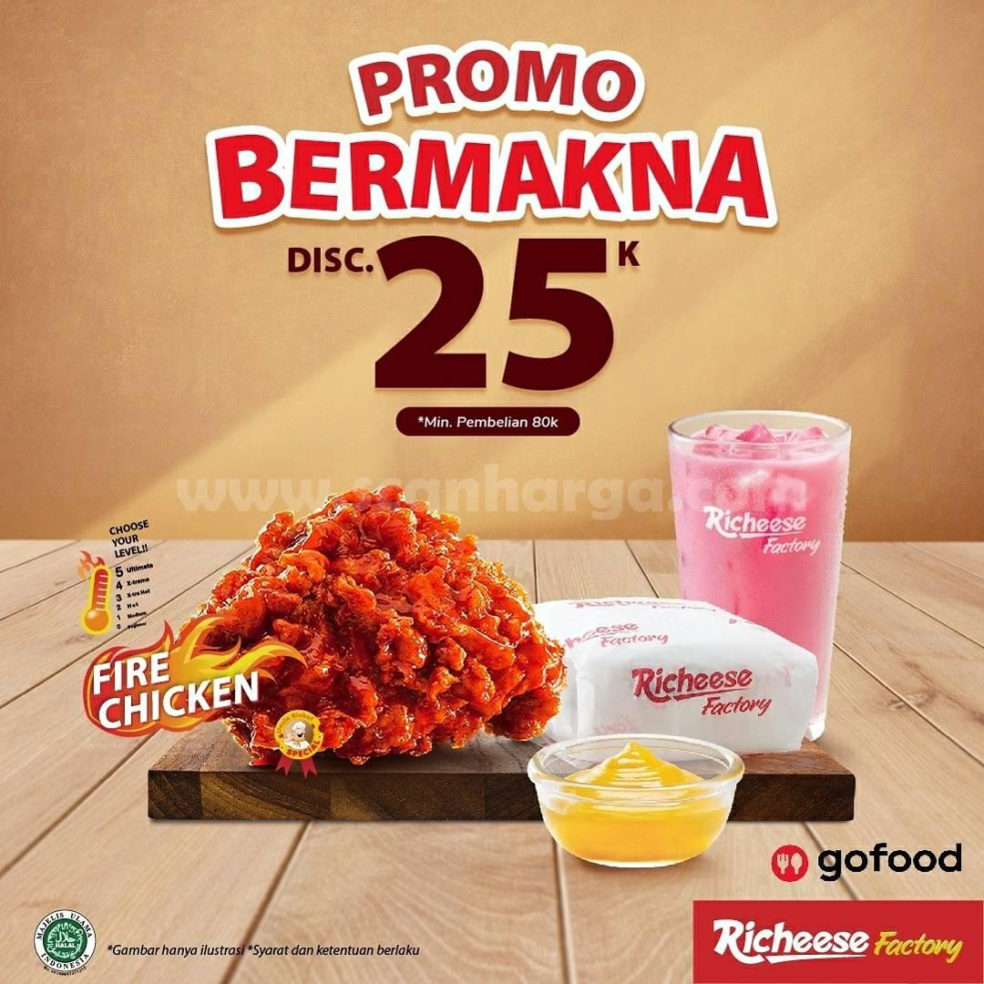 RICHEESE FACTORY Promo BERMAKNA DISKON Rp. 25.000 melalui GOFOOD