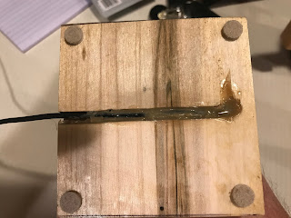 Cable in the slot and glued in place
