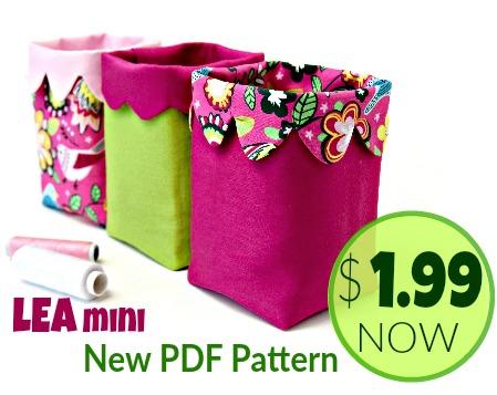 New PDF Pattern - LEA Mini Fabric Bin