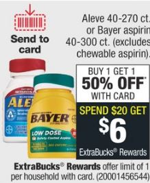 Aleve 40-270 ct. or Bayer aspirin