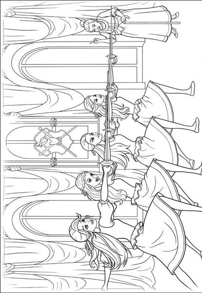 Barbie and The Three Musketeer Coloring Pages Team colors