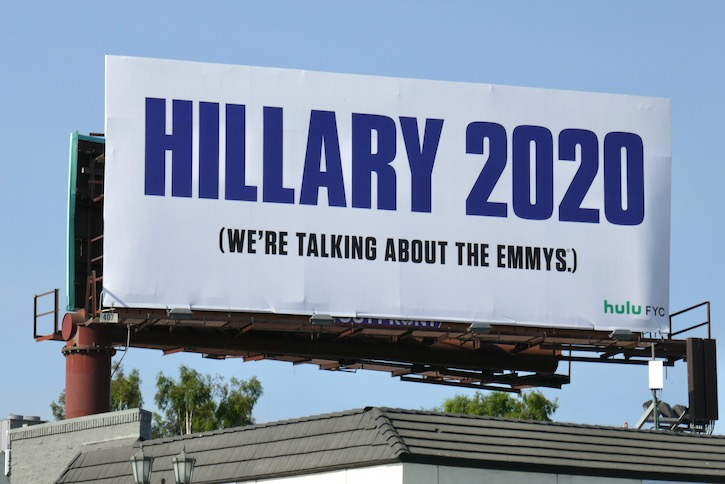 Hillary 2020 talking about Emmys billboard