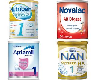 Lista dos tipos de leites em pó, adaptados ou de fórmula
