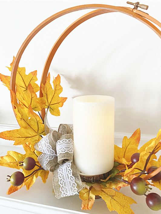 flameless candle and fall leaves