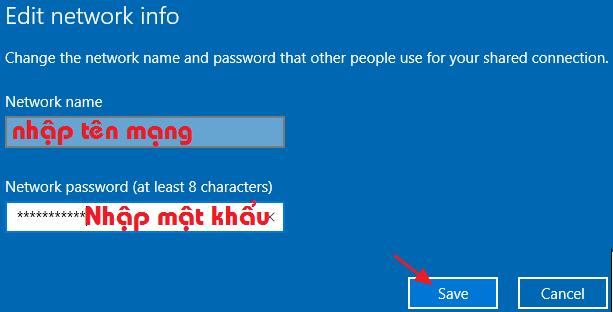 Thiết lập Network name và password