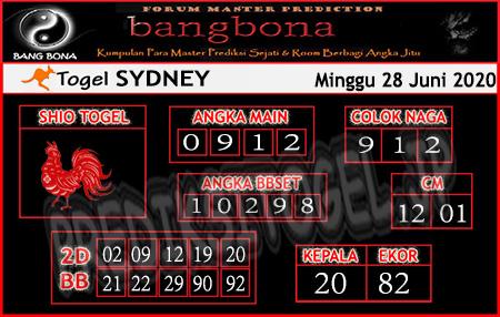 Prediksi Sydney Bangbona Minggu 28 Juni 2020
