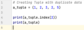 Retrieve index of an element in a tuple