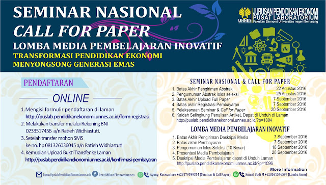SEMINAR NASIONAL, CALL FOR PAPER, DAN LOMBA MEDIA PEMBELAJARAN EKONOMI INOVATIF 2016