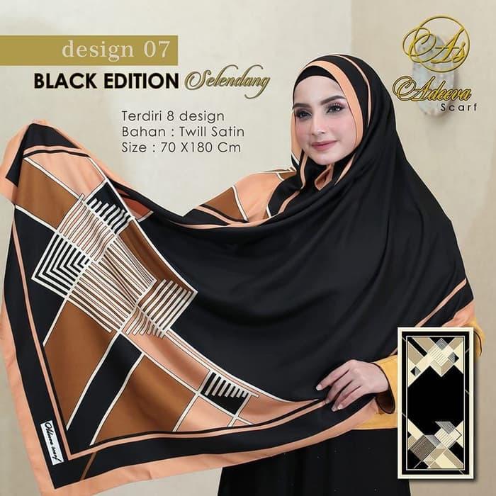 Jilbab Pashmina adeeva scarf selendang hijab hitam Grosir
