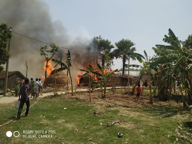 सोबरौली में पांच लोगों के घरों में आग लगने से लाखों की क्षति