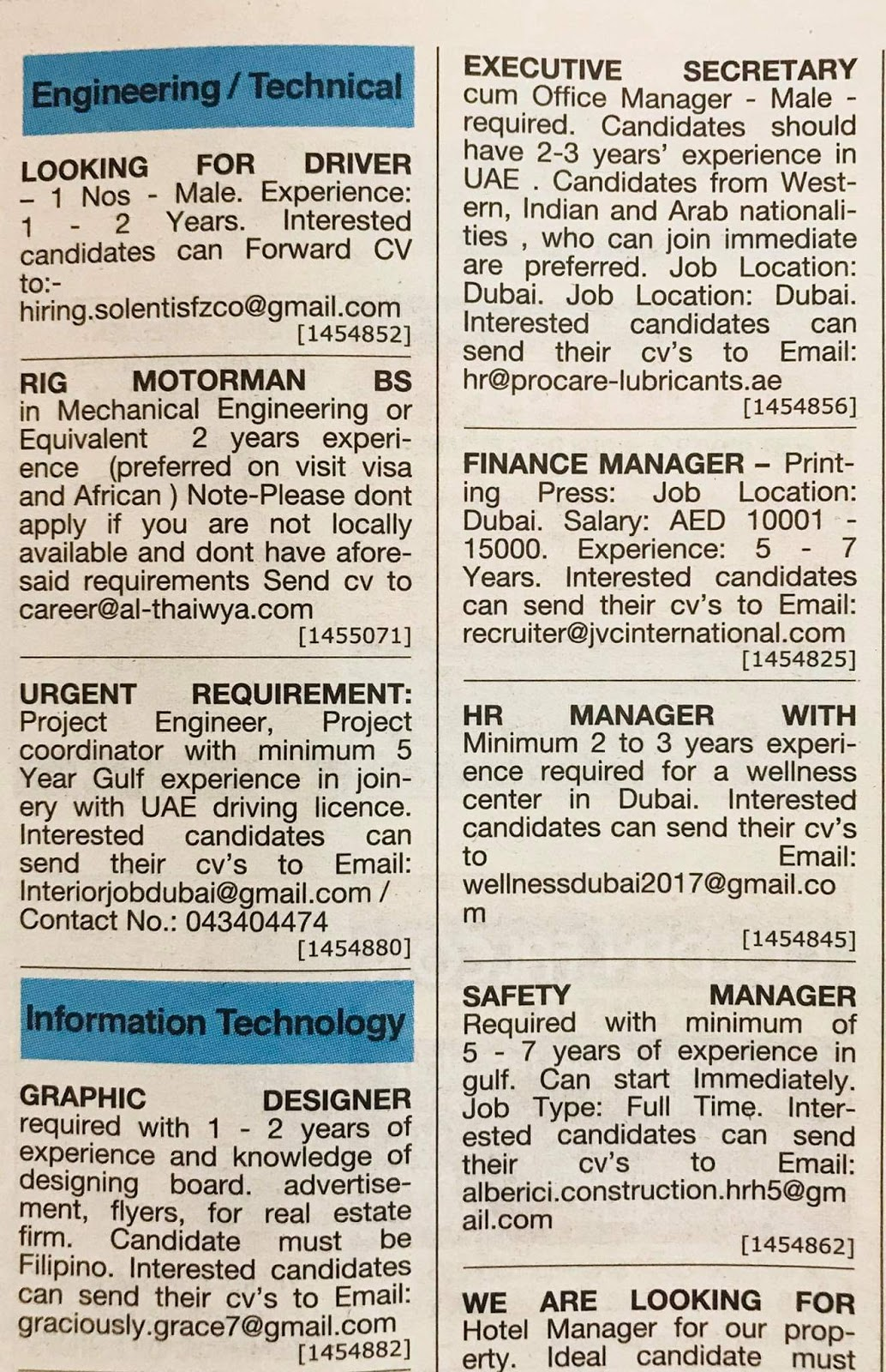 Required Engineering & Technical Staff UAE Jobs Local Hiring