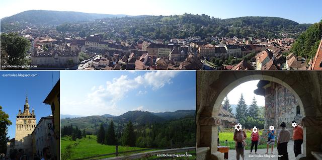 Viaje a Rumanía: panorámica de Sighișoara, torre del reloj, vistas desde el Hotel Drácula y entrada del monasterio Moldovita