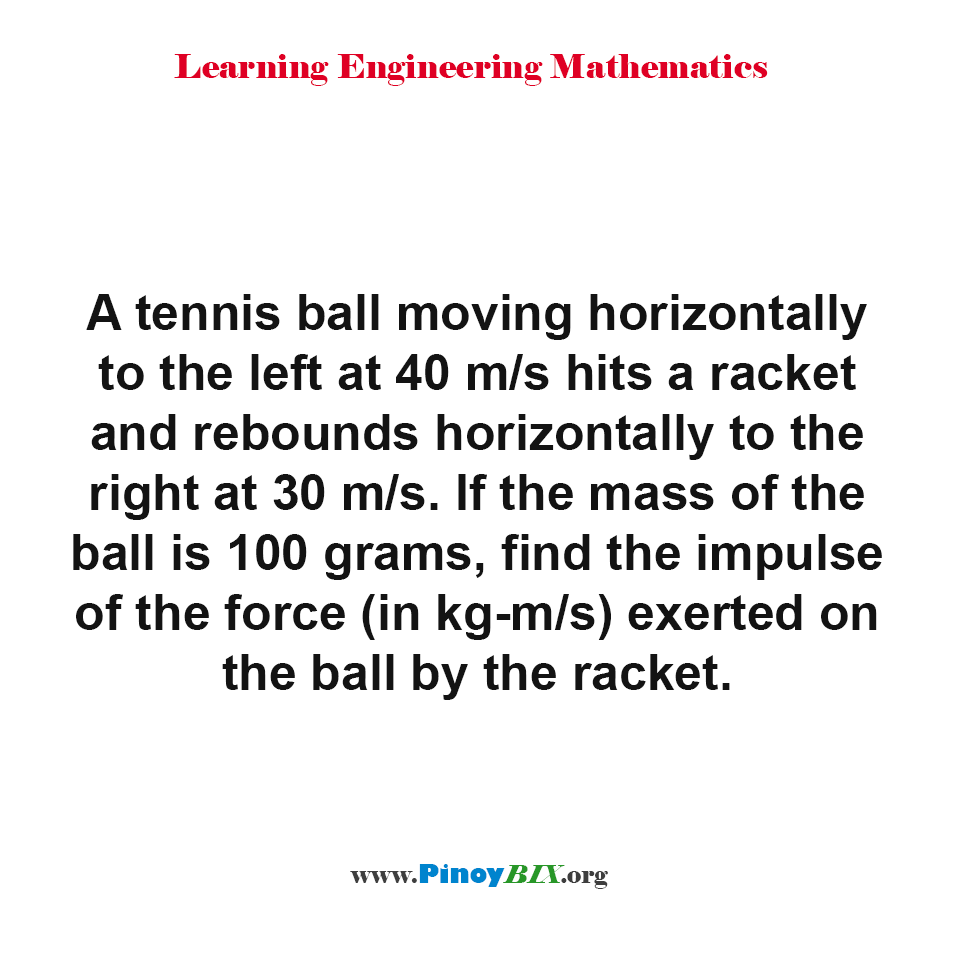 Find the impulse of the force (in kg-m/s) exerted on the ball by the racket